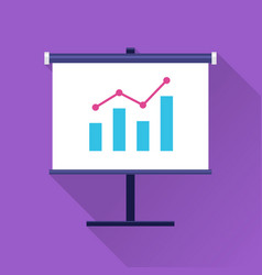 Standing flip board with progress chart icon vector