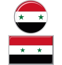 Syrian round and square icon flag vector