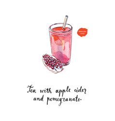 tea with apple cider and pomegranate watercolor vector image vector image