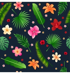 Tropical flowers seamless background vector