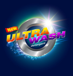 ultra wash detergent label vector image