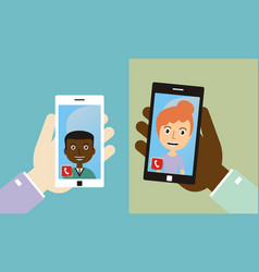 Video conference with friends by smart phone vector
