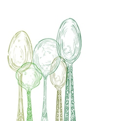 Vintage cutlery elements hand drawn set vector