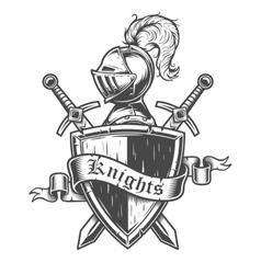 Vintage knight emblem vector