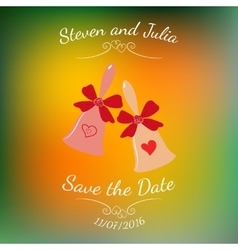 Wedding bells with hearts and bow over vector