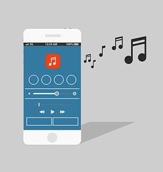 Modern smartphone with the music player vector