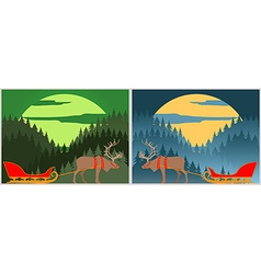 Santas sleigh with north deer lapland winter vector