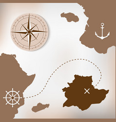 Old treasure paper map with islands vector