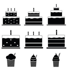 Birthday cakes icon set vector