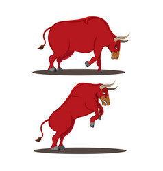 Red bull animal side view vector