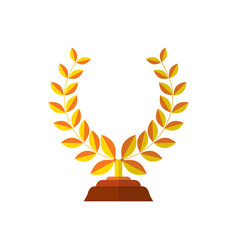Trophy icon flat of success award winner medal vector