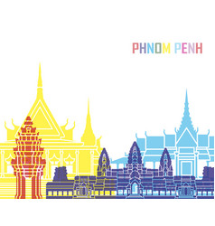 Phnom penh skyline pop vector