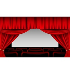 Stage interior with red curtains and seats vector image