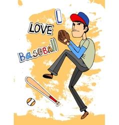 I Love baseball vector image