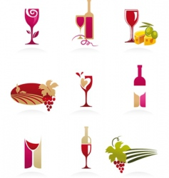 Food and wine icons vector