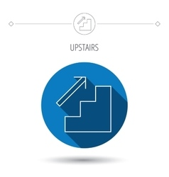 Upstairs icon direction arrow sign vector
