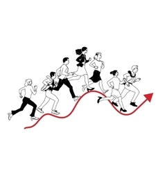 Business people run graph curves red line black vector