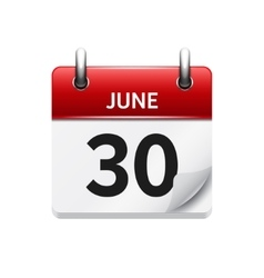 June 30  flat daily calendar icon date vector