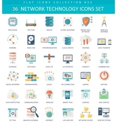 Network technology color flat icon set vector