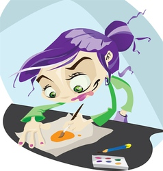 A funky cartoon hard at work painting vector