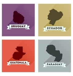 Concept flat icons with long shadow maps countries vector