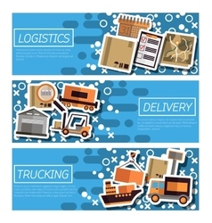Set of horizontal banners about logistics vector