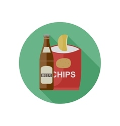 Beer and chips vector image
