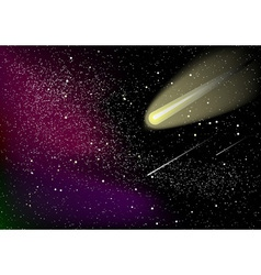 Black cosmos with stras and comet vector
