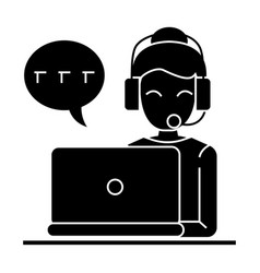 call center - woman laptop headset icon vector image vector image