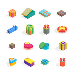cartoon present boxes color icon set vector image