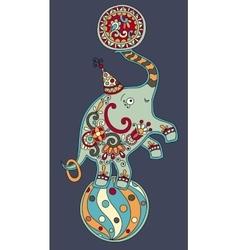 Circus theme - elephant balancing on a ball on vector