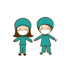 Colorful caricature couple doctor costume vector