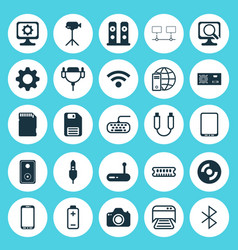 Computer icons set collection of blank cd laptop vector