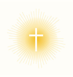 Cross in sun lights vector