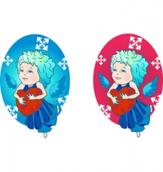 cute angel with red heart vector image vector image