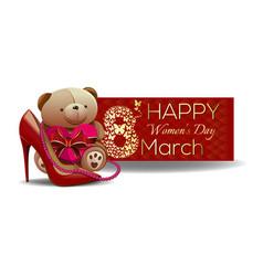 cute teddy bear congratulates beautiful women with vector image vector image