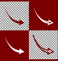 Declining arrow sign bordo and white vector