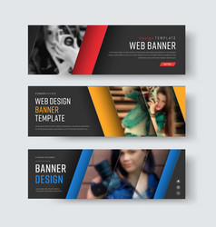 design of black banners with diagonal colored vector image