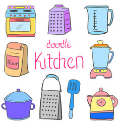 Doodle kitchen equipment colorful style vector