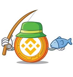 Fishing binance coin mascot catoon vector