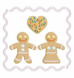 gingerbread man and gingerbread girl vector image