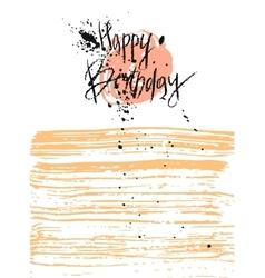 Hand draw texture Happy Birthday card vector image