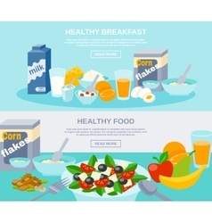 Healthy food flat banner set vector