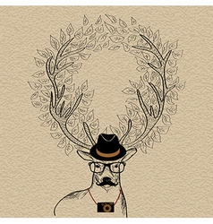 Hipster reindeer greeting card vector image