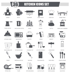 Kitchen black icon set Dark grey classic vector image vector image