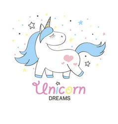 magic cute unicorn in cartoon style vector image