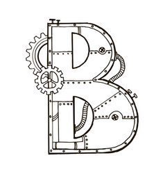 mechanical letter b engraving vector image vector image