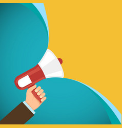 Megaphone in human hand marketing and promotions vector