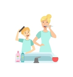Mother and child preparing for bed together vector
