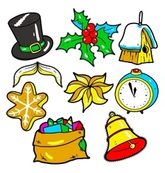 New Year stickers pins patches in cartoon 80s vector image